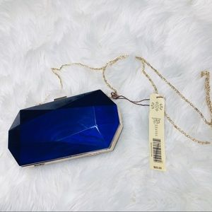 Kate Landry Blue Hard Shell Case Purse Gold Chain